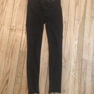 Rag & Bone the legging destroyed black jeans 27